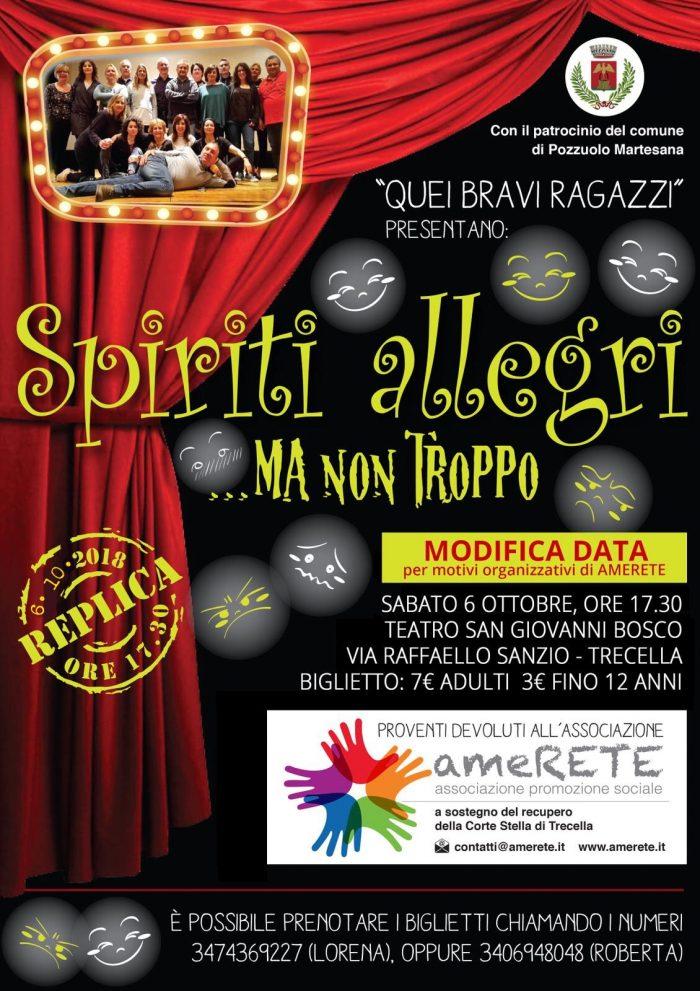LOCANDINA spettacolo teatrale Spiriti allegri ma non troppo 6 ottobre 2018 trecella